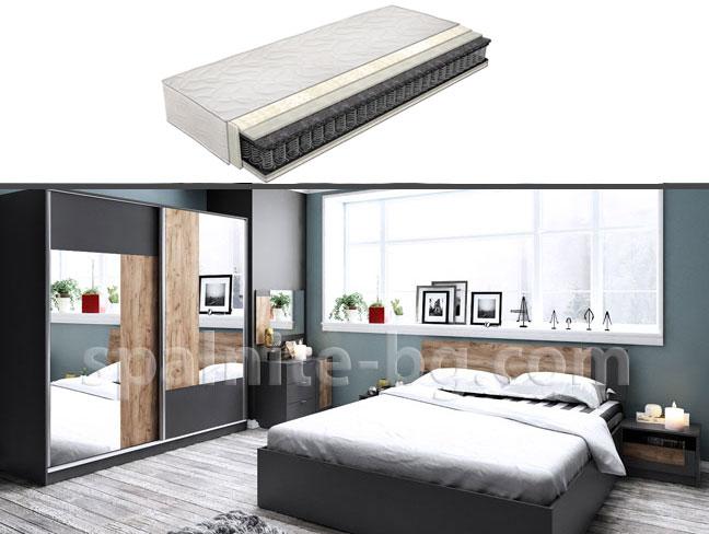 Спален комплект Бруклин с еднолицев матрак на супер цени