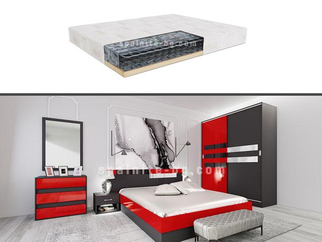 Спален комплект City 7050 с еднолицев матрак на супер цени