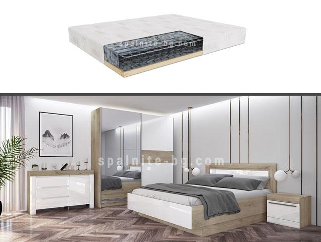 Спален комплект City 7052 с еднолицев матрак на супер цени